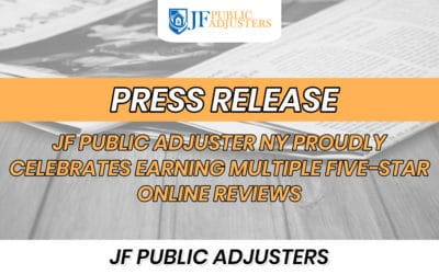 JF Public Adjuster NY Proudly Celebrates Earning Multiple Five-Star Online Reviews