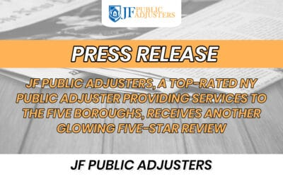 JF PUBLIC ADJUSTERS, A TOP-RATED NY PUBLIC ADJUSTER PROVIDING SERVICES TO THE FIVE BOROUGHS, RECEIVES ANOTHER GLOWING FIVE-STAR REVIEW